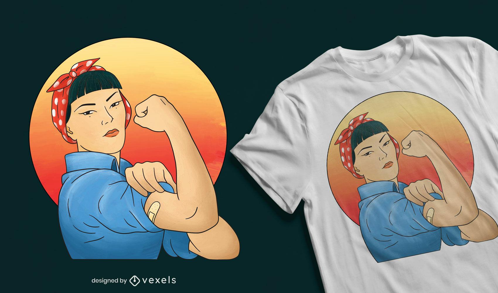 Asiatisches Rosie the Riveter T-Shirt-Design