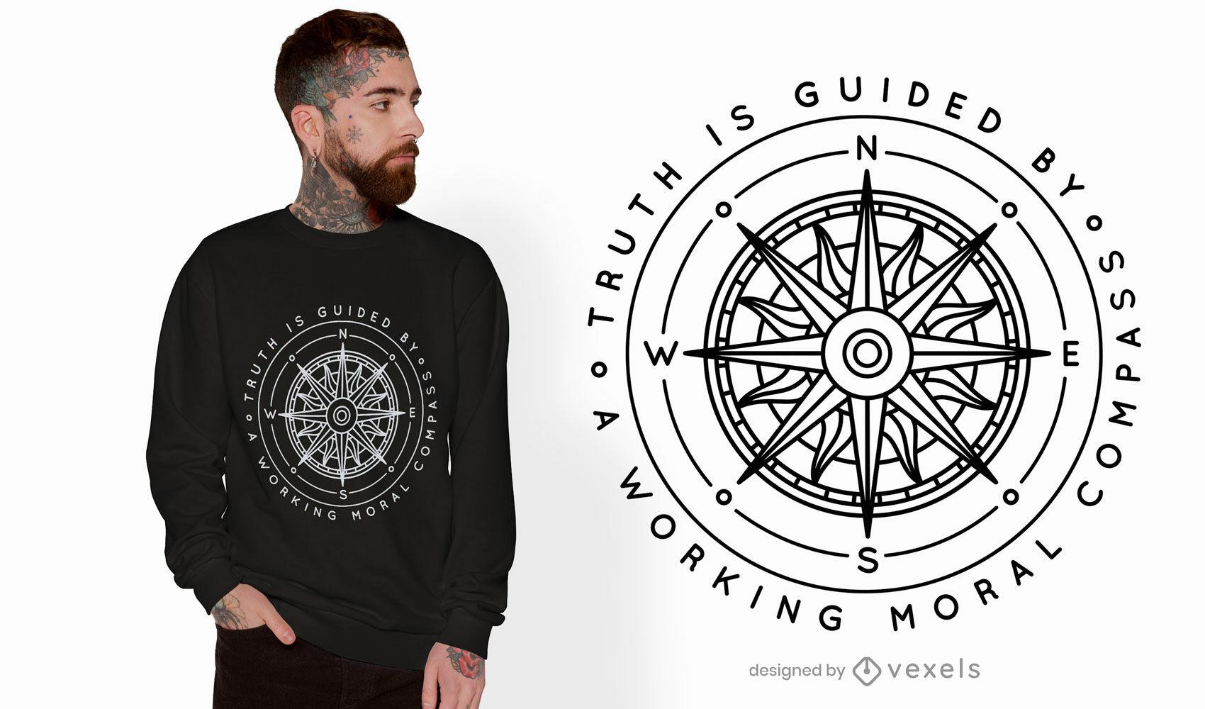 Diseño de camiseta de cita de brújula moral