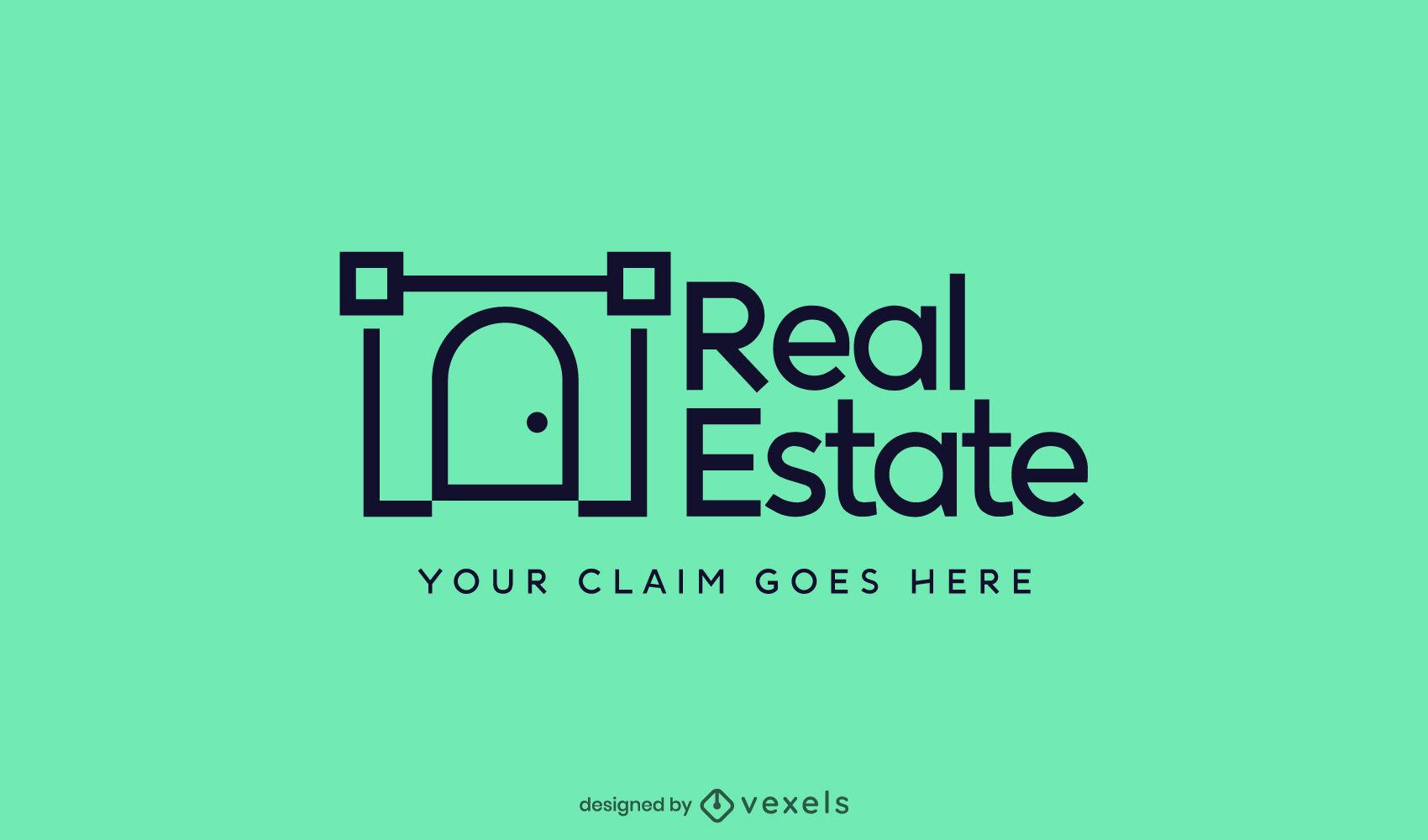 Stroke real estate door logo