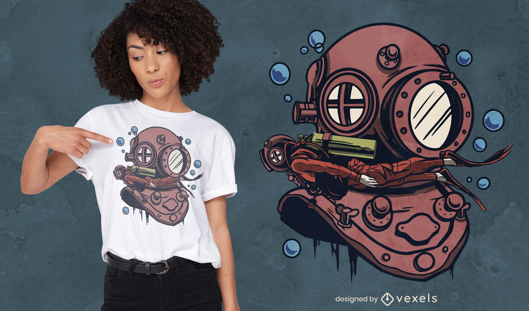 Diver helmet t-shirt design