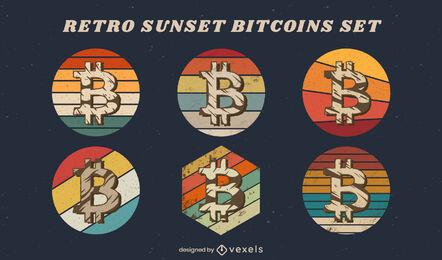 Conjunto de emblemas de Bitcoin retro pôr do sol