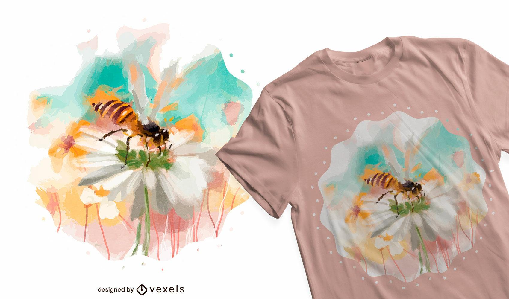 Abeja en dise?o de camiseta de acuarela de flores