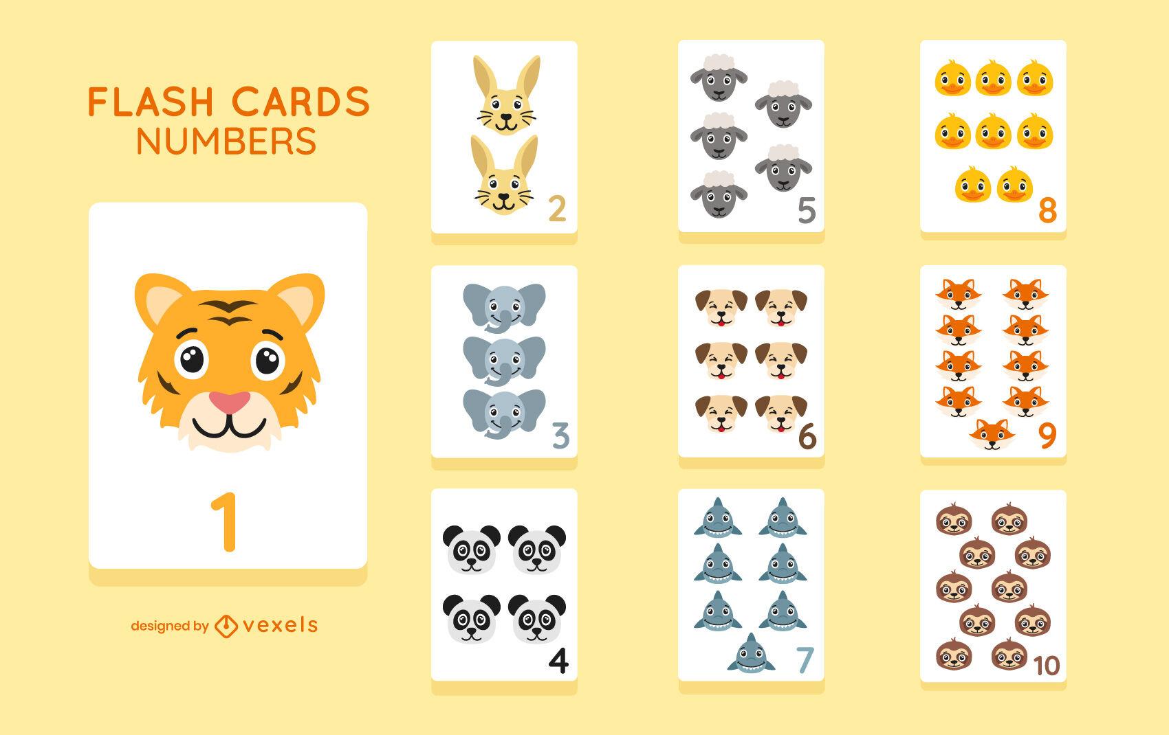 Número animales lindo conjunto educativo de tarjeta flash