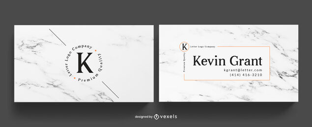 White marble business card template
