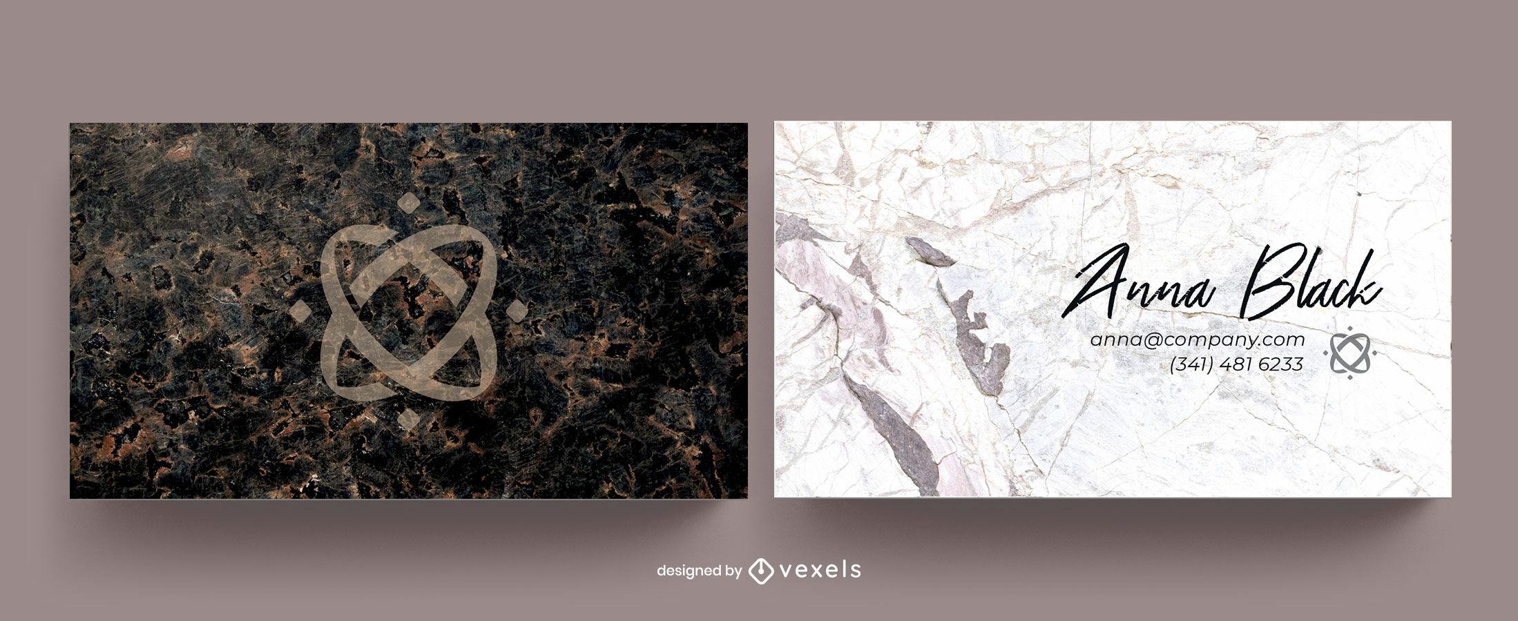 Visitenkartenvorlage aus dunklem und weißem Marmor