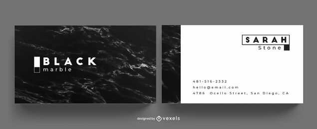 Black marble business card template