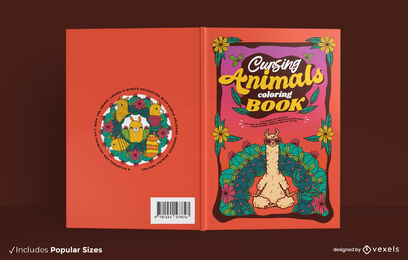 Cursing animals coloring book cover design