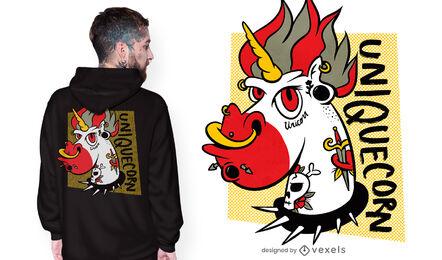 Diseño de camiseta de unicornio tatuado.