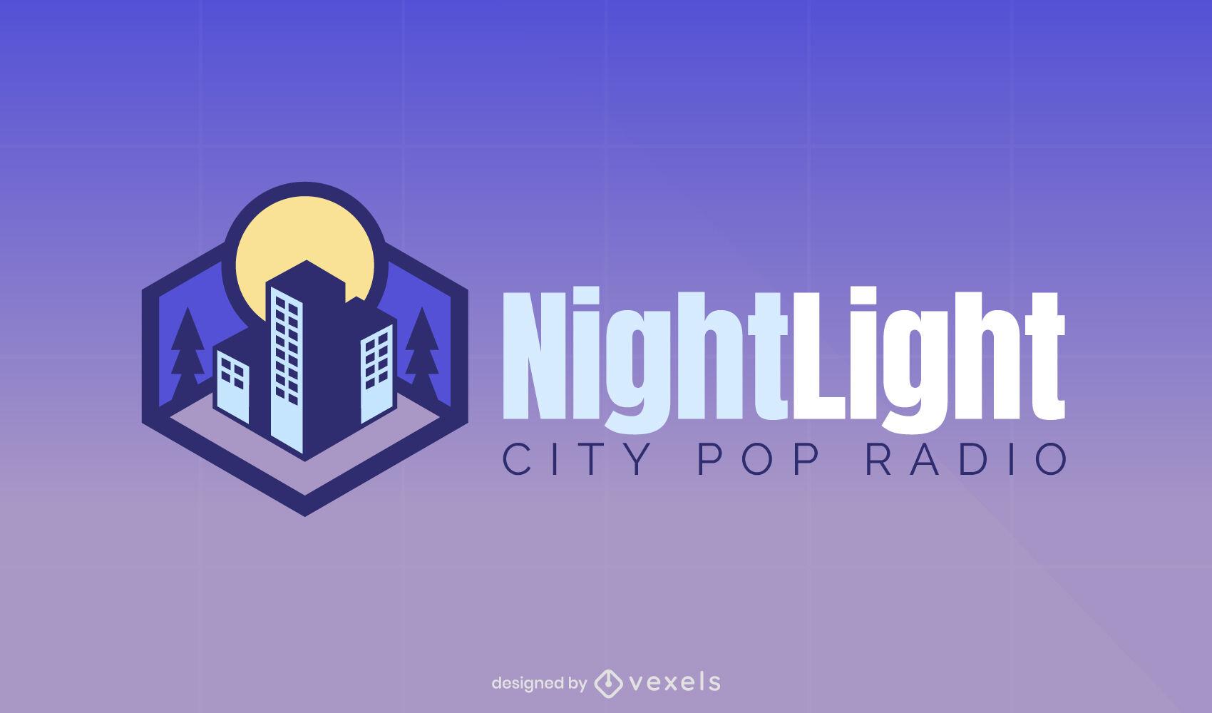 Ciudad isométrica en logo de noche