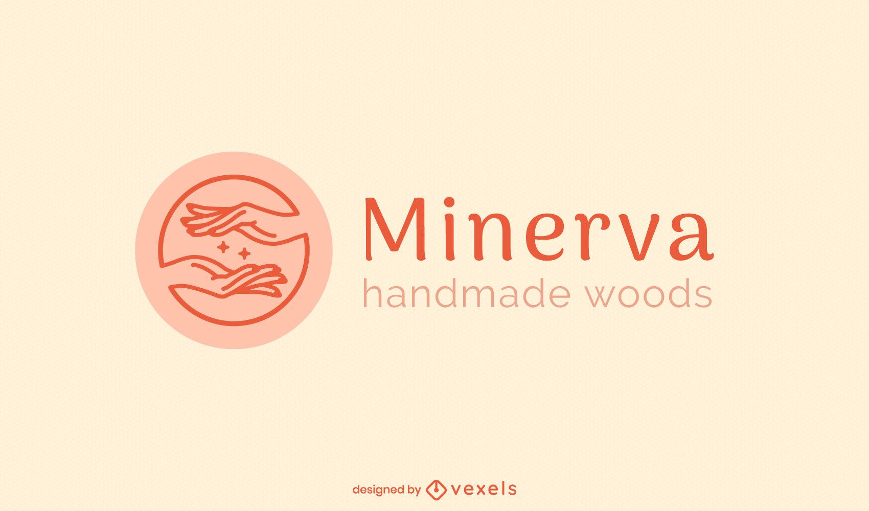 Plantilla de logotipo de manos y destellos
