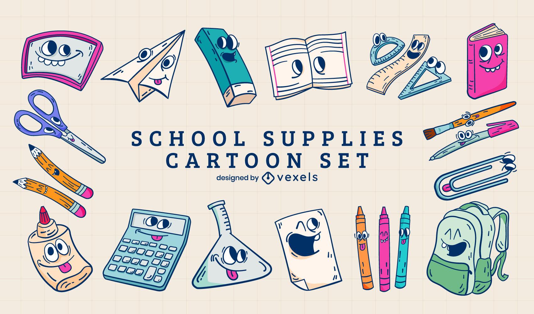 Conjunto de dibujos animados de útiles escolares