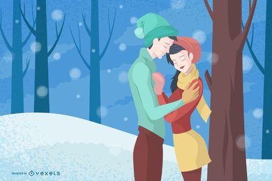Casal na ilustração do inverno