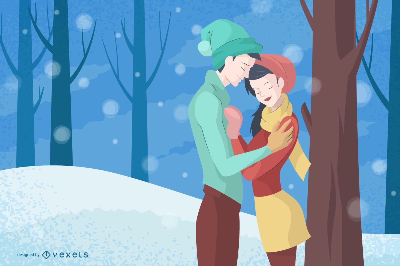 Couple in winter illustration