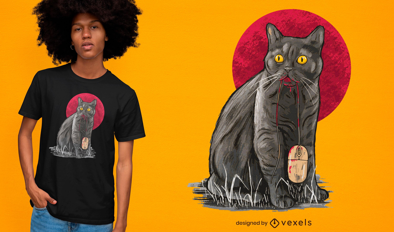 Diseño de camiseta de gato con ratón.