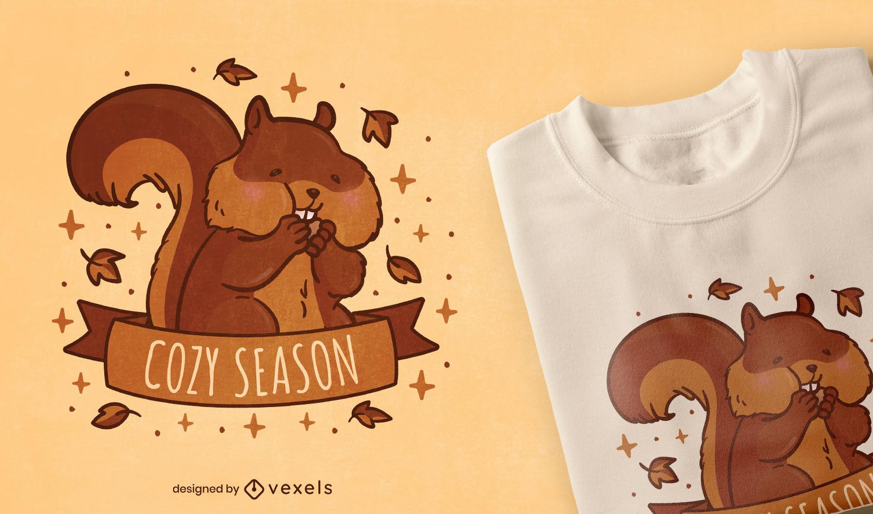 Diseño de camiseta de temporada de otoño animal ardilla.