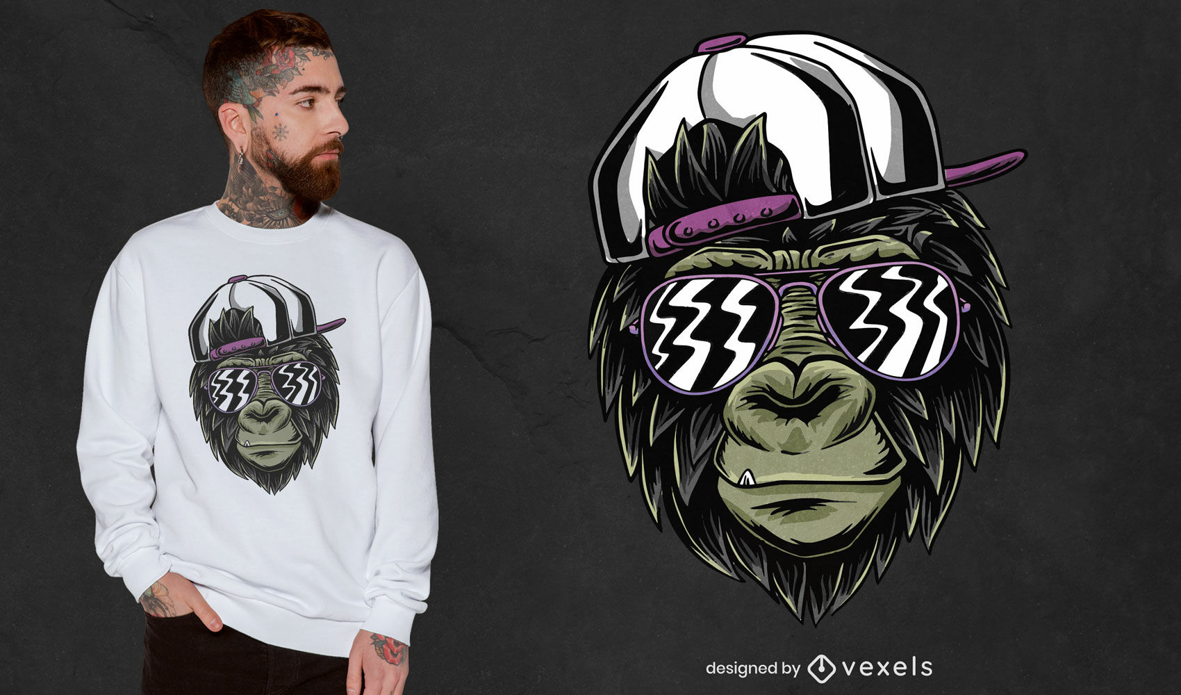 Cool monkey with glasses t-shirt design