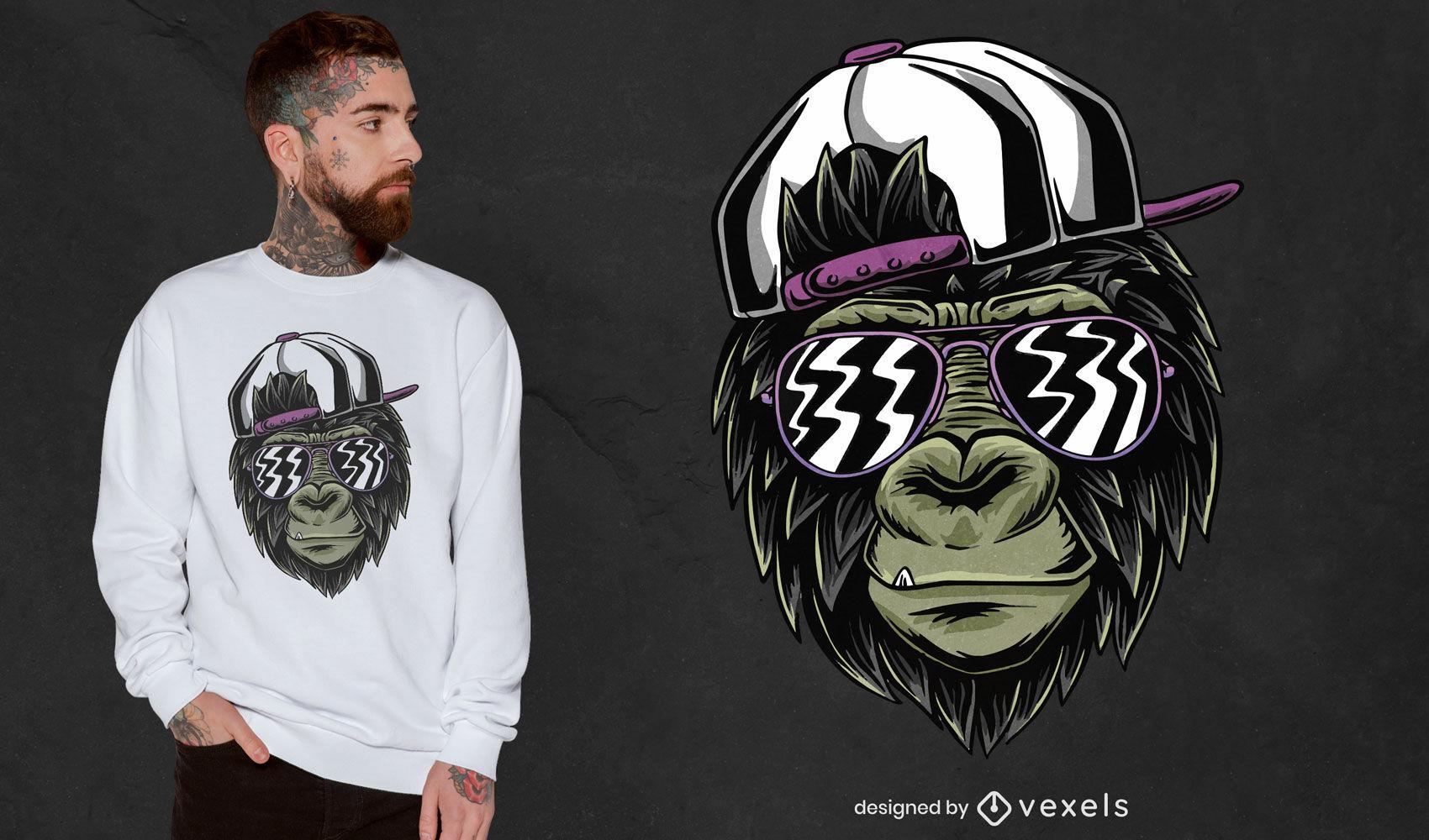 Macaco maneiro com design de t-shirt de óculos