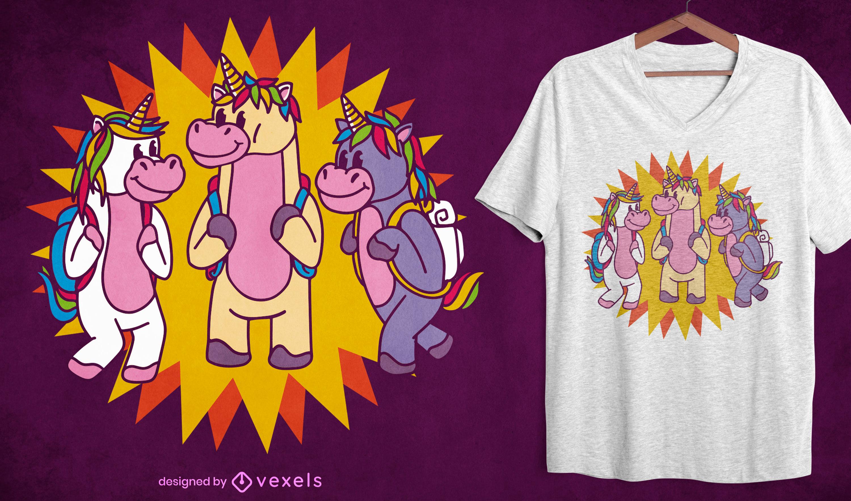 Dise?o de camiseta de estilo de dibujos animados de unicornios escolares.