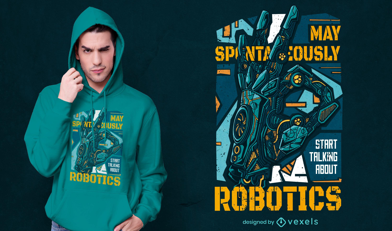Diseño de camiseta de cita de fan de robótica.