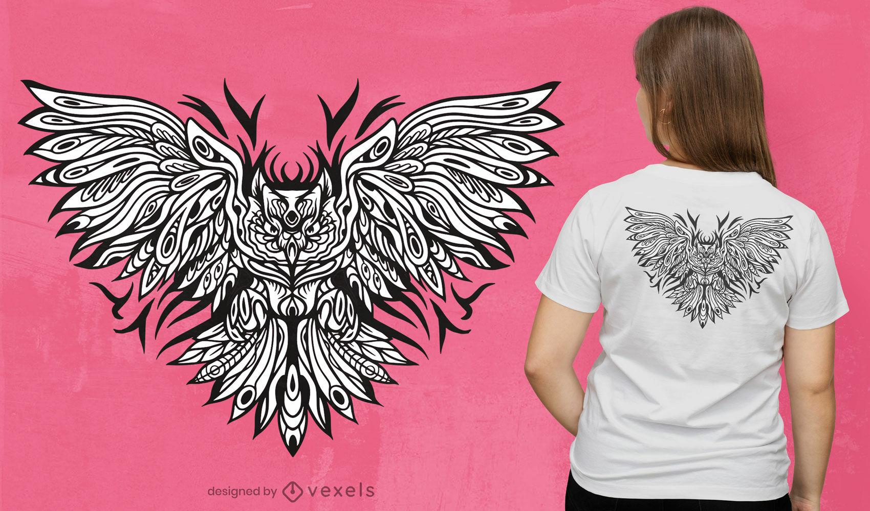 Design de t-shirt de coruja tribal