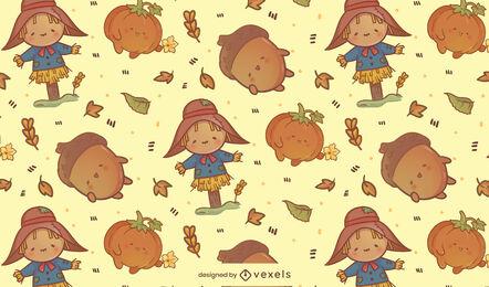 Diseño de patrón de temporada de otoño de espantapájaros kawaii