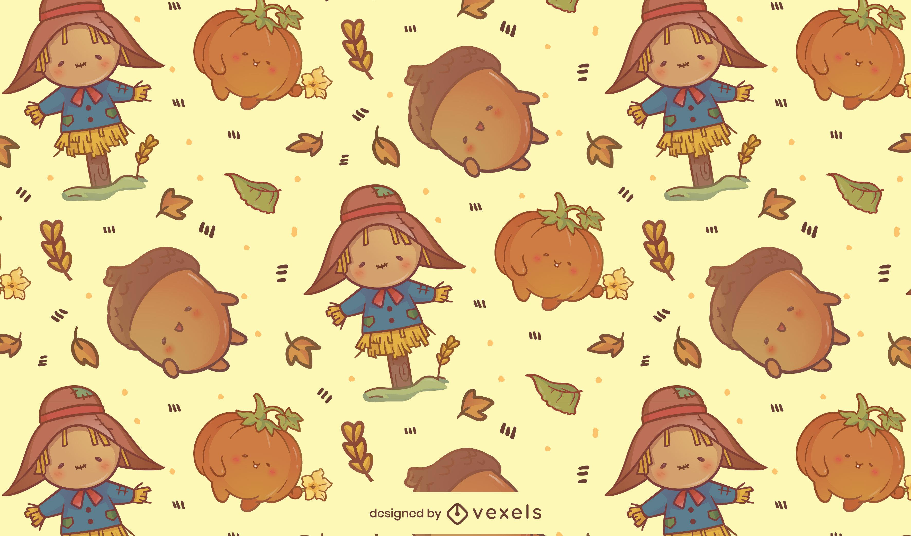 Projeto do padrão da temporada de outono do espantalho kawaii