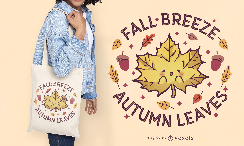 Kawaii autumn leaf tote bag design