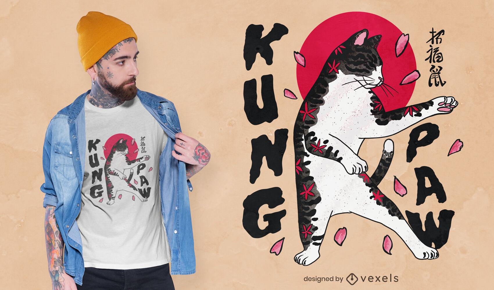 Diseño de camiseta de gato kung fu
