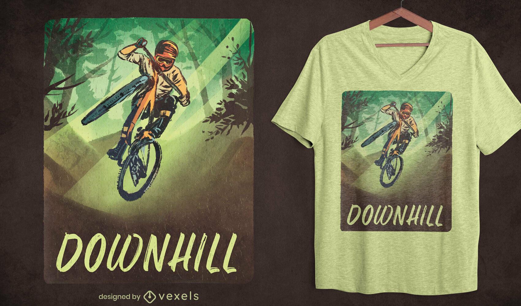 Downhill biking psd t-shirt design