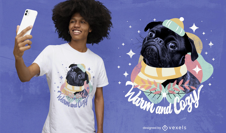 Diseño de camiseta psd cálido y acogedor pug