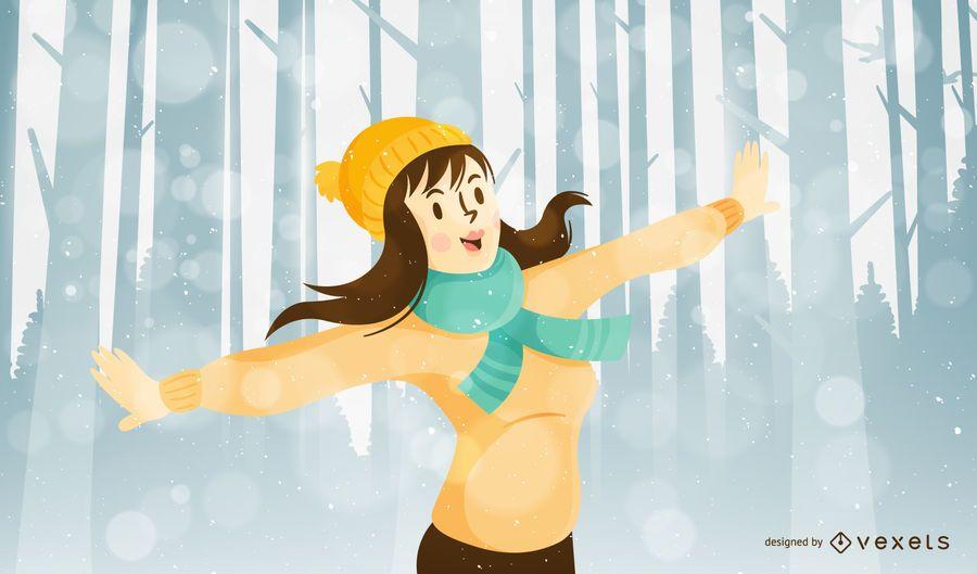 Ilustração de Natal com mulher na floresta