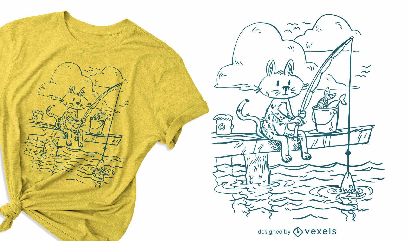 Desenho de t-shirt doodle de gato pescador