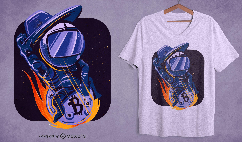 Design de camiseta bitcoin de astronauta caubói