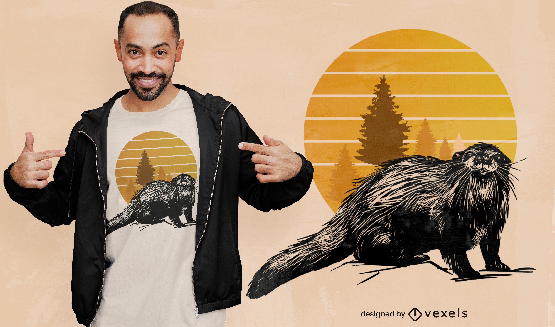 Lontra com design de camiseta ao pôr do sol