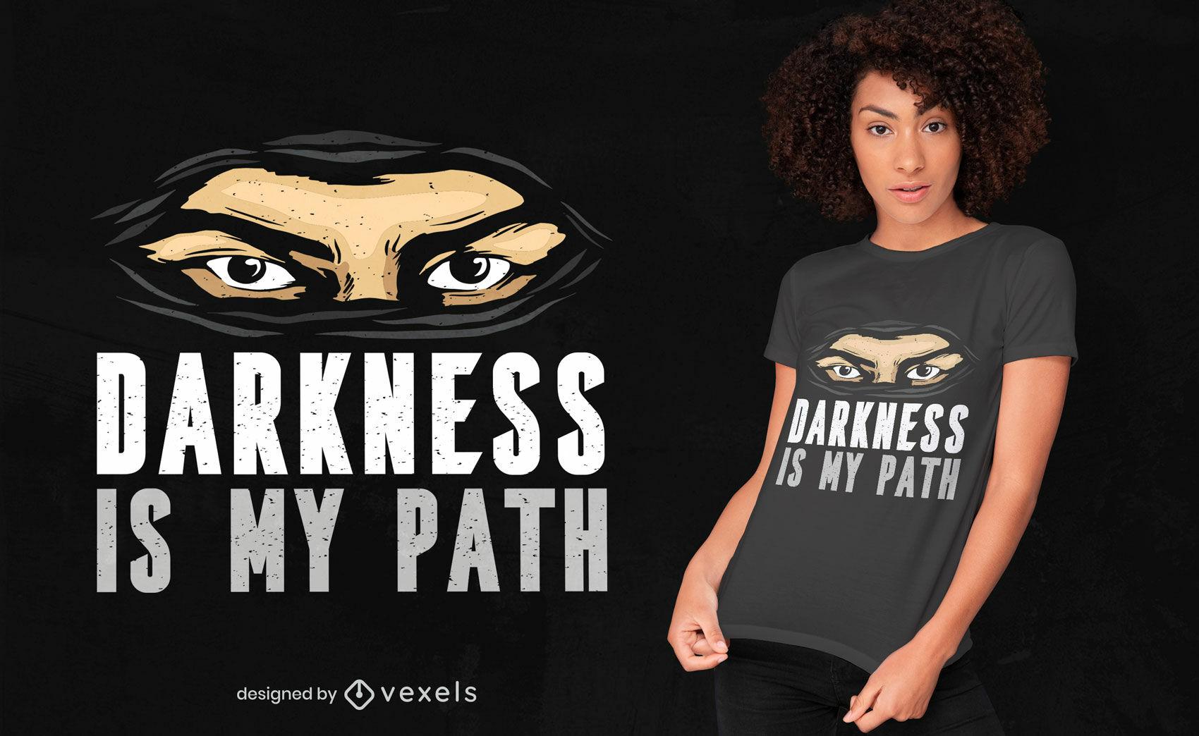 Diseño de camiseta de cita de oscuridad de máscara ninja