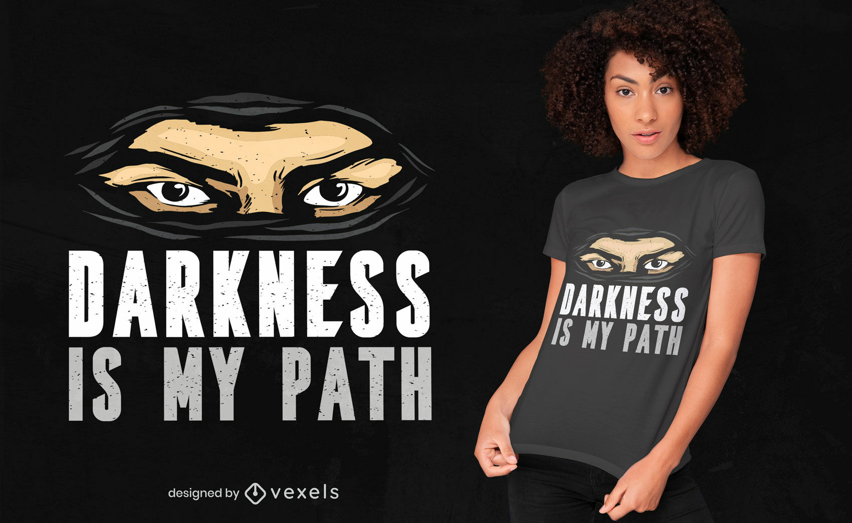 Ninja mask darkness quote t-shirt design