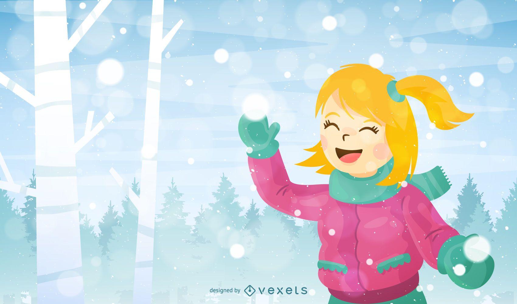 Ilustración de niña jugando con nieve