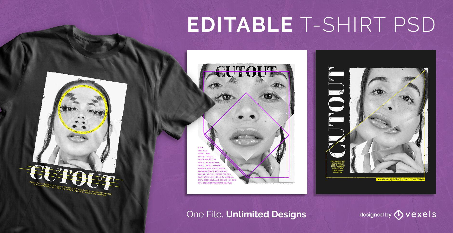 Filtro de imagen recortada psd diseño de camiseta escalable