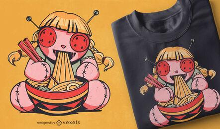 Voodoo doll eating spaghetti t-shirt design