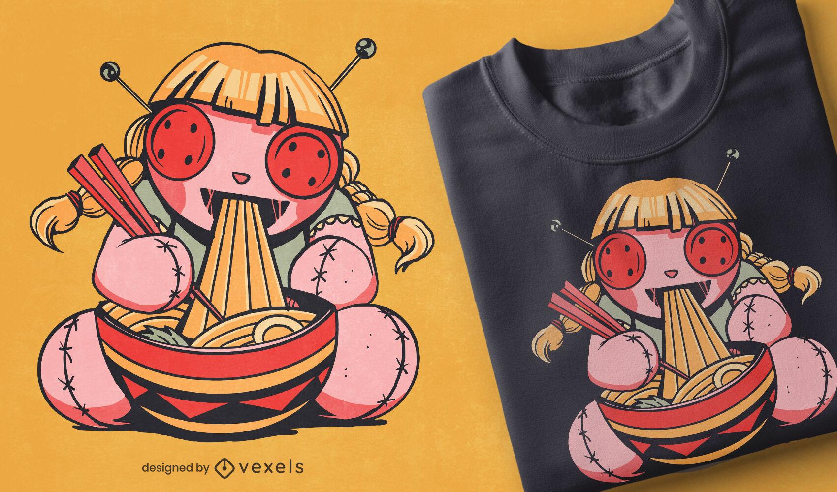 Boneca vodu comendo espaguete com design de camiseta