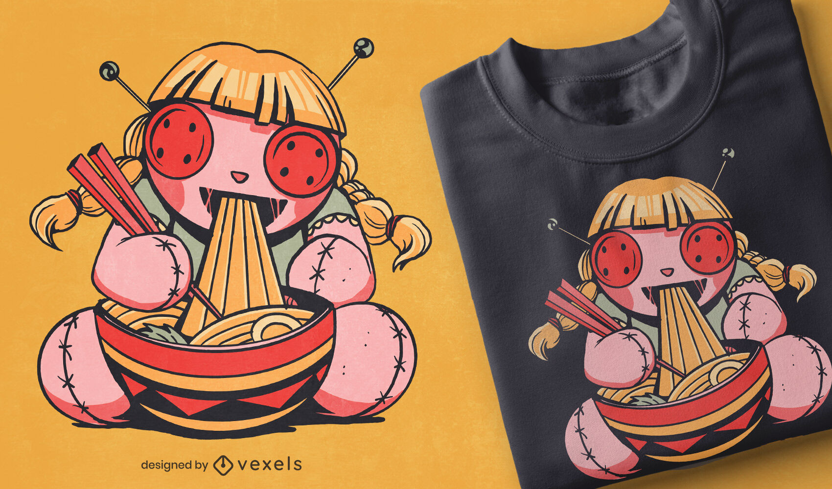 Voodoo-Puppe isst Spaghetti-T-Shirt-Design