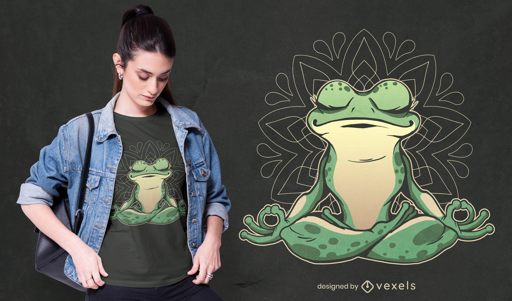 Animal de rana haciendo diseño de camiseta de yoga.