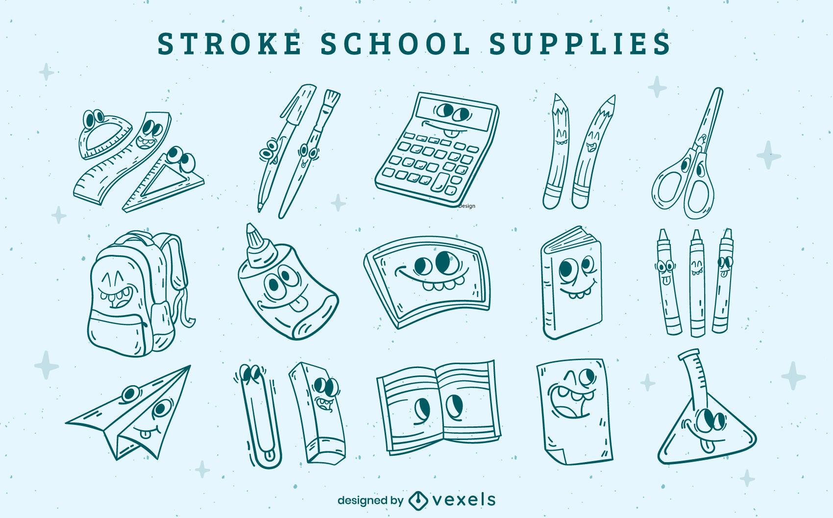 School supplies cartoon stroke elements