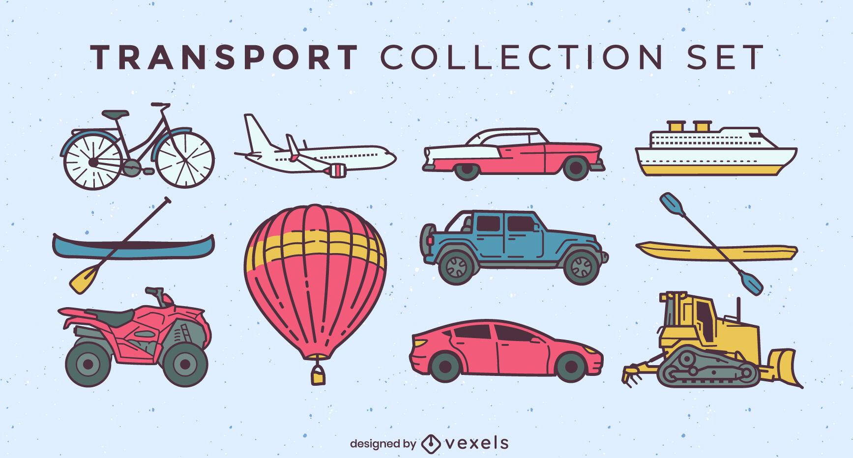 Transportation set of elements color stroke