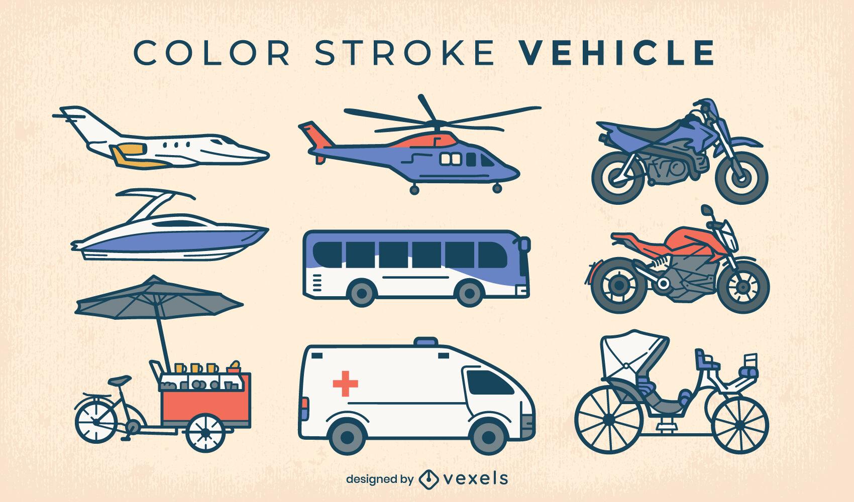 Transportation elements color stroke set
