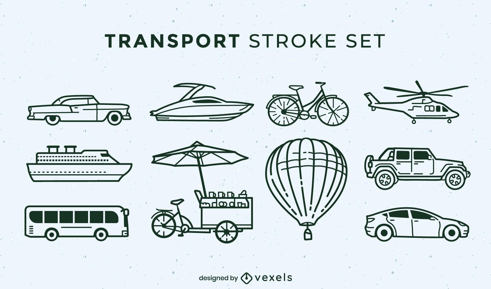 Conjunto de trazos de elementos de transporte