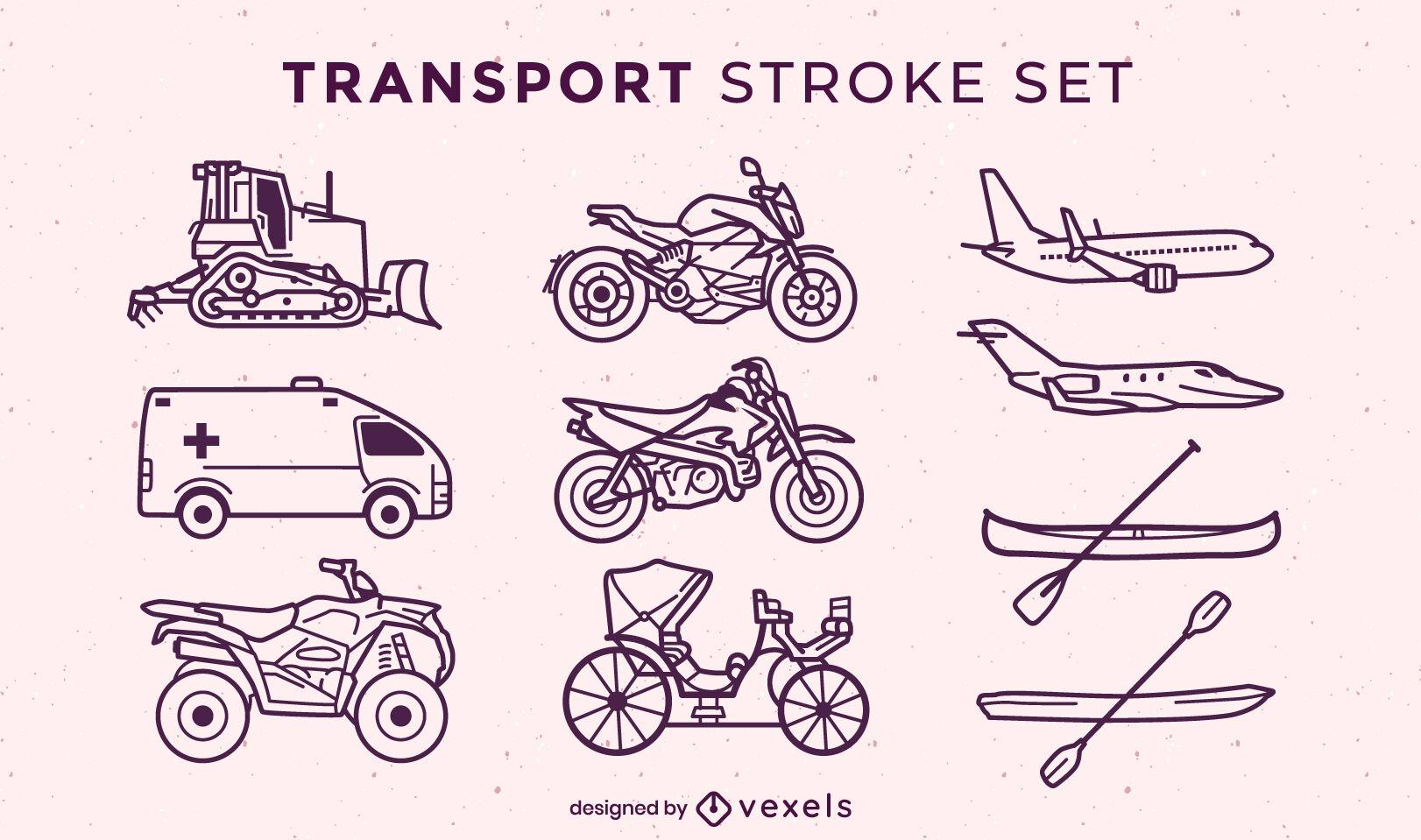 Transportation set of stroke elements