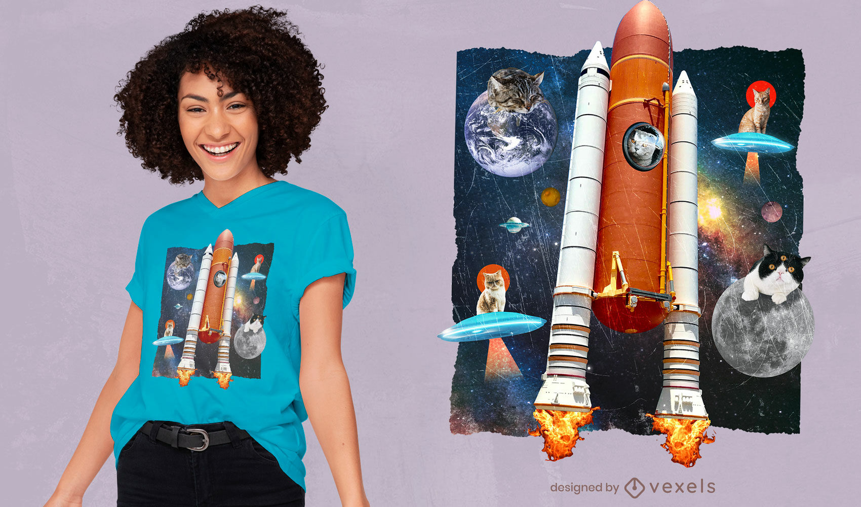 Cats in space funny collage t-shirt psd