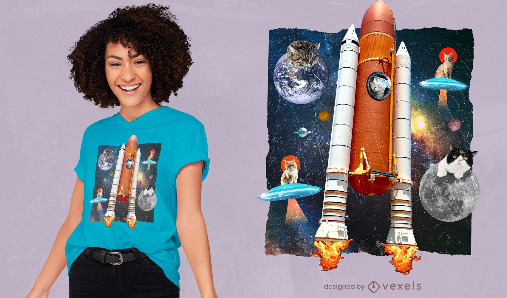 Gatos en el espacio camiseta divertida del collage psd