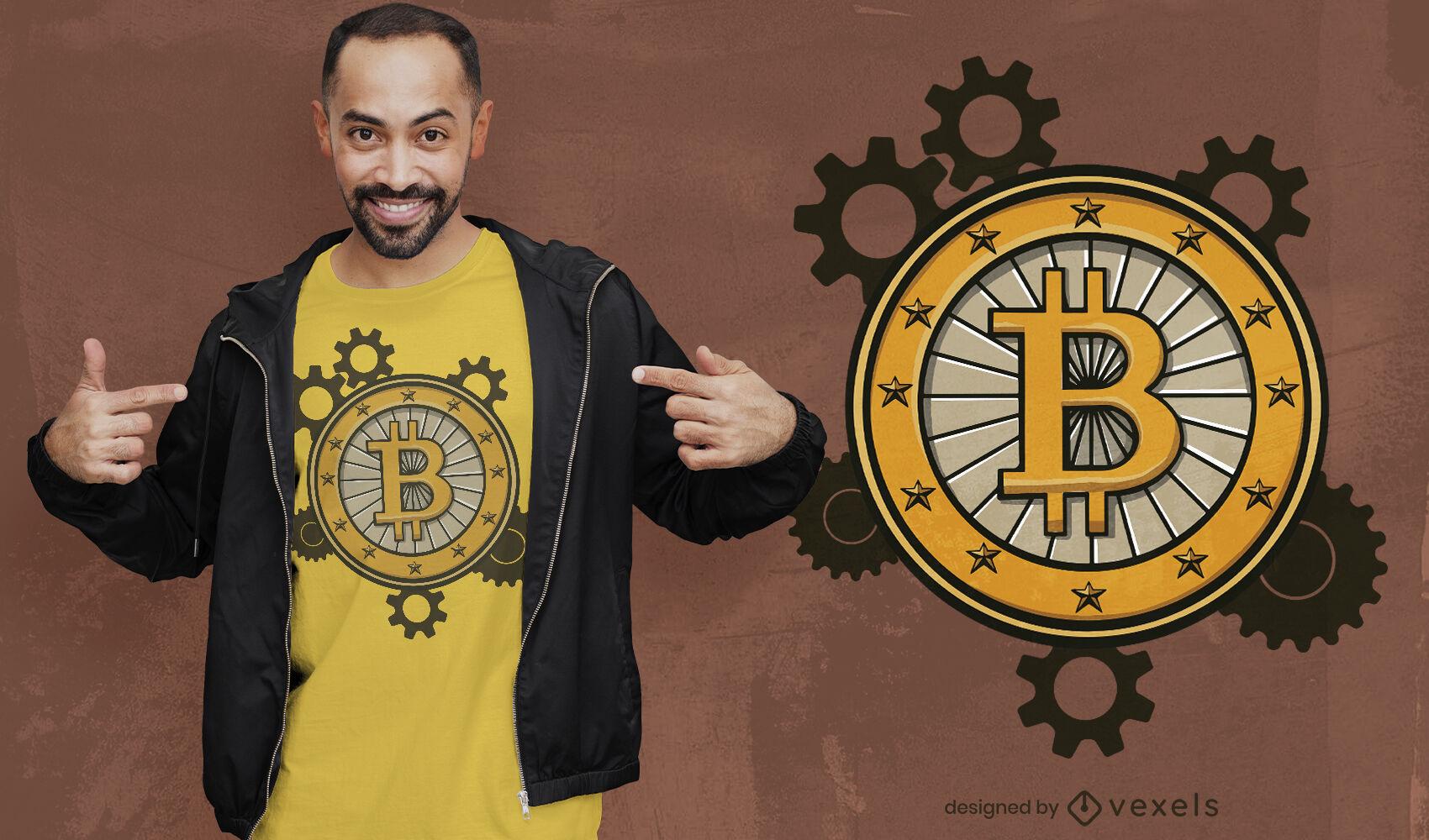 Diseño de camiseta de engranajes de Bitcoin